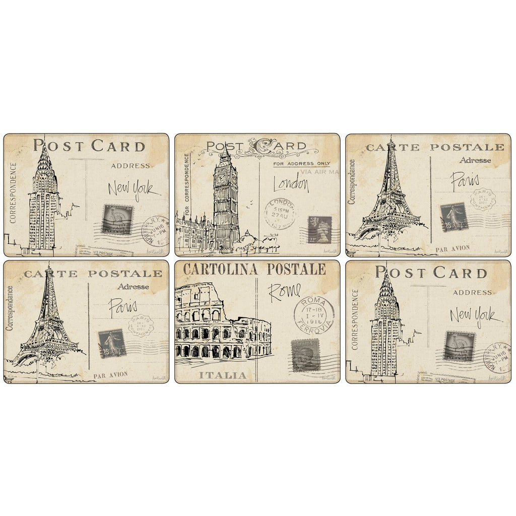Pimpernel Postcard Sketches Placemats 30.5cm By 23cm (Set Of 6)