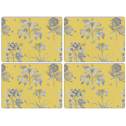 Pimpernel Etchings And Roses Yellow Placemats 40.1cm By 29.8cm (Set Of 4)