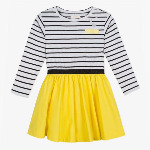 Two material striped knit and yellow poplin dress