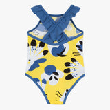 One piece swimsuit with parrot print