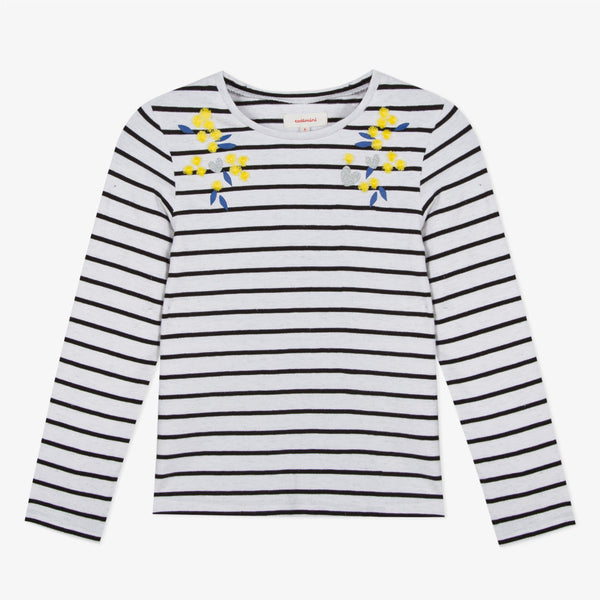 Striped t-shirt with mimosa pompoms