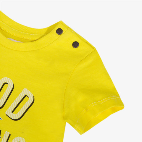 Yellow t-shirt with phosphorescent scooter pattern