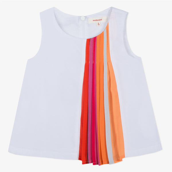 Knit top with pleated rainbow