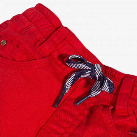 Red stretch twill trousers