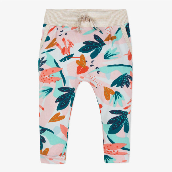 New style jog bottoms in flower-printed fleece