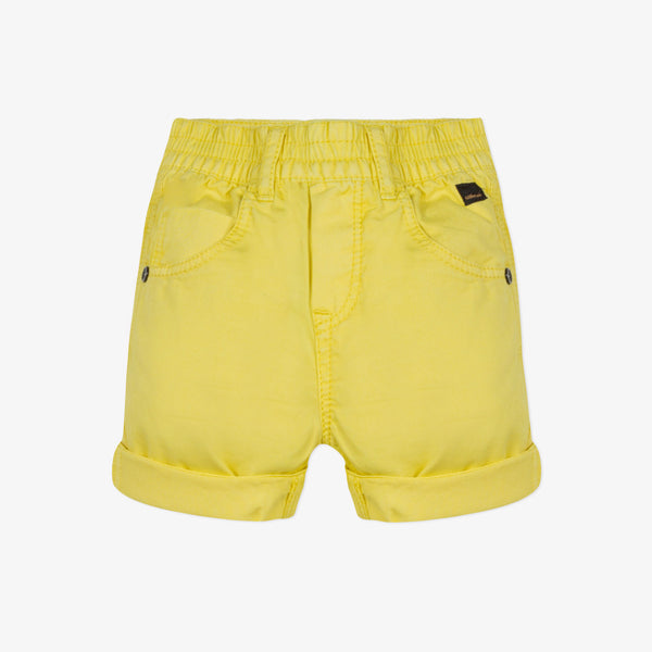 Overdyed yellow gabardine bermuda shorts
