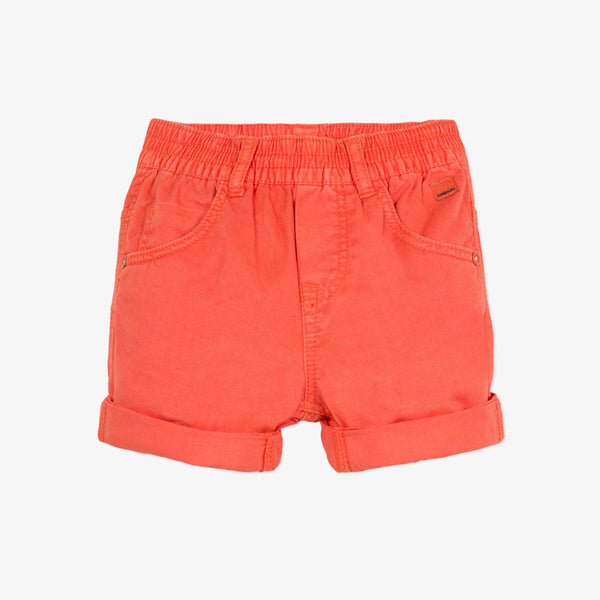 Gabardine bermuda shorts tinted in flame-orange