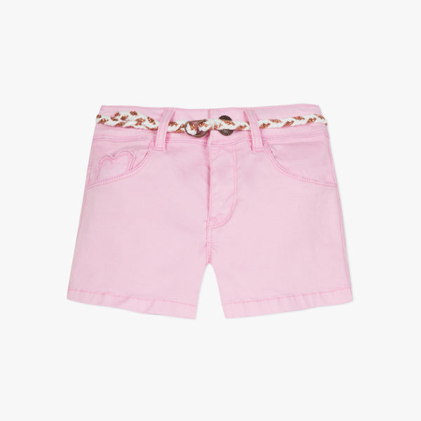 Pink stretch satin shorts with belt