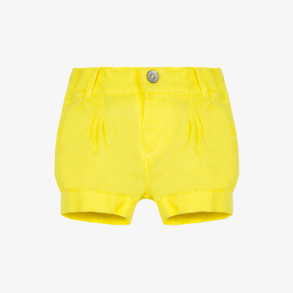 Pleated linen yellow shorts