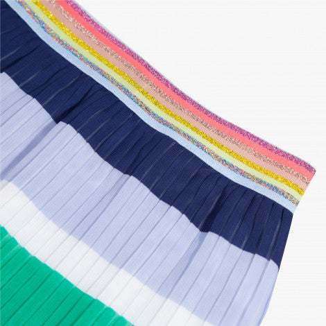 Pleated skirt with multicolored stripes