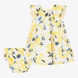 Percale mimosa print dress with bloomer