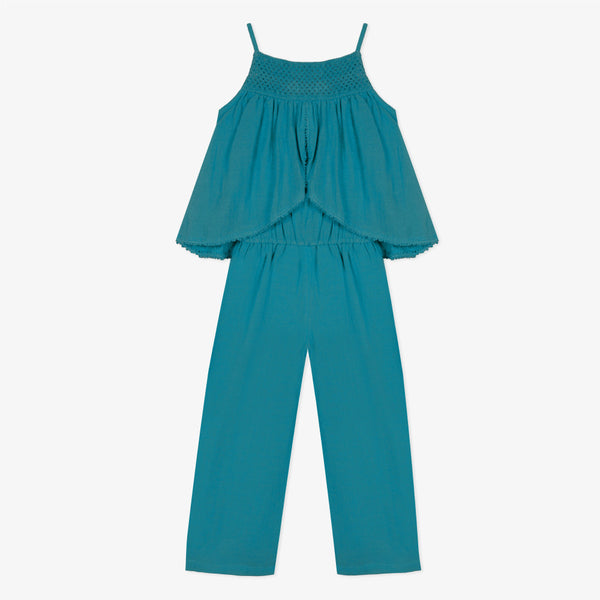 Jumpsuit in lagoon-blue seersucker