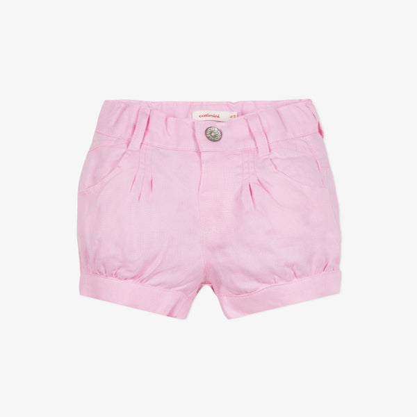Linen light pink shorts