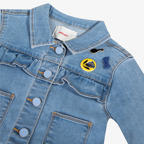 Girls bleached denim jacket