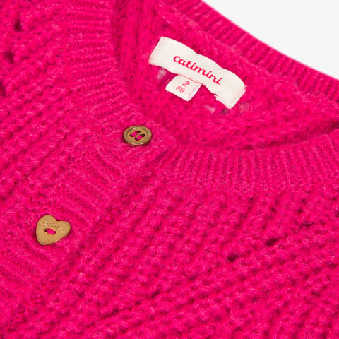 Fuchsia pink knitted cardigan