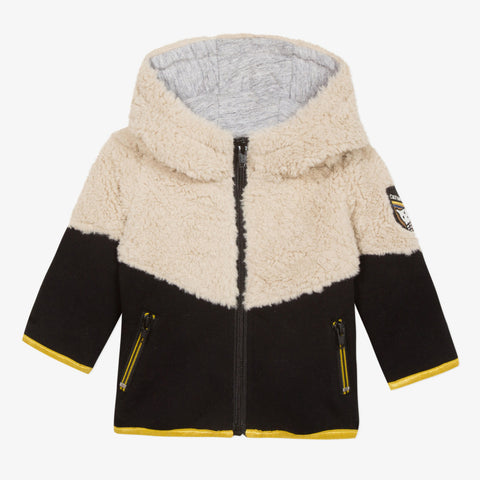 Color block faux fur jacket with llama patch