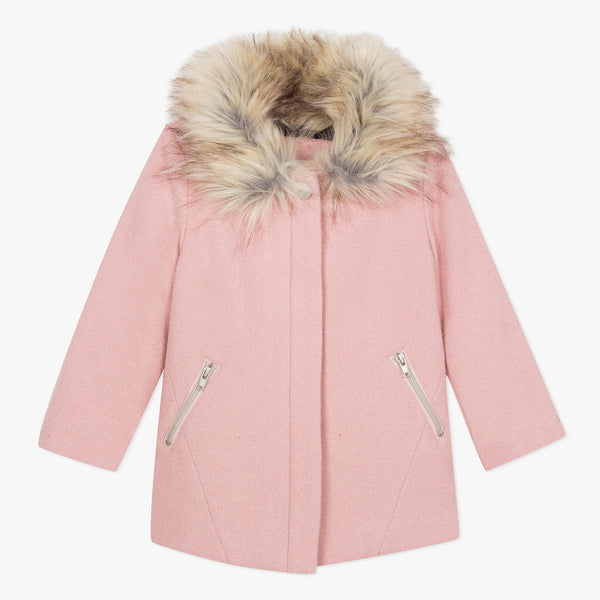 [LAST CHANCE*] Pink wool coat with faux fur collar