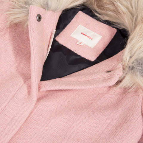 Pink wool coat with faux fur collar