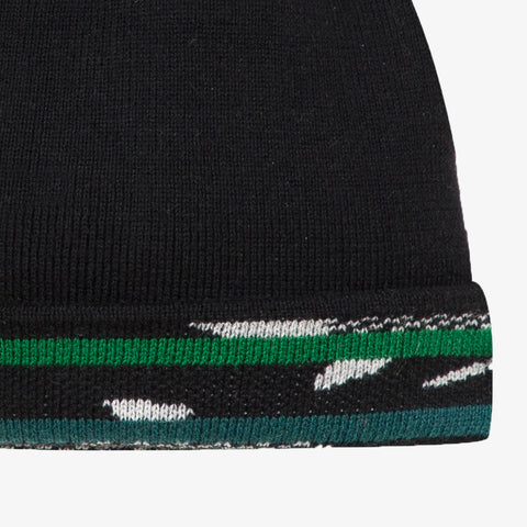 Black graphic reversible knit beanie
