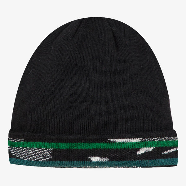 Black graphic reversible knit hat