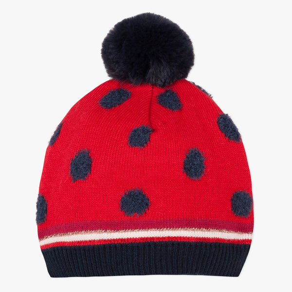 Red polka dot hat with pompom