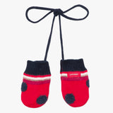 Red polka dot knit mittens