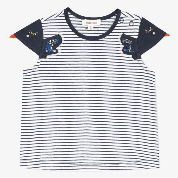 Striped embroidered T-shirt