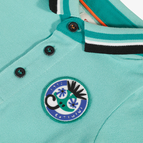 Mint blue graphic polo