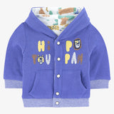 Blue reversible hooded cardigan