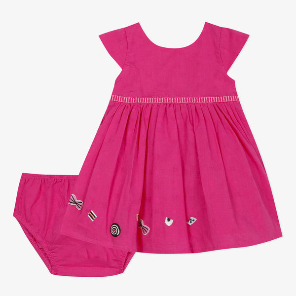Fuschia pink dress and bloomer set