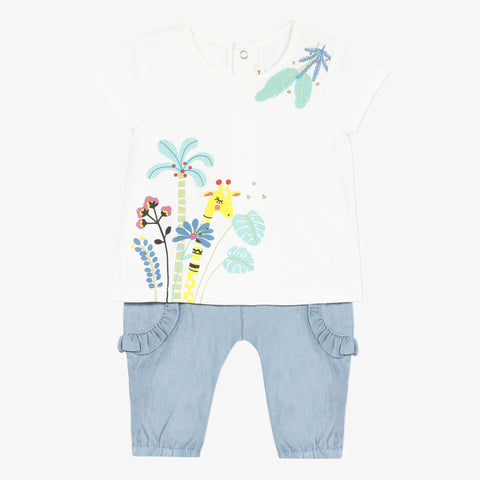 *NEW* Short sleeve t-shirt and soft denim pants set