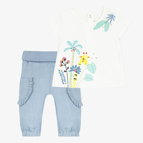 Short sleeve t-shirt and soft denim pants set