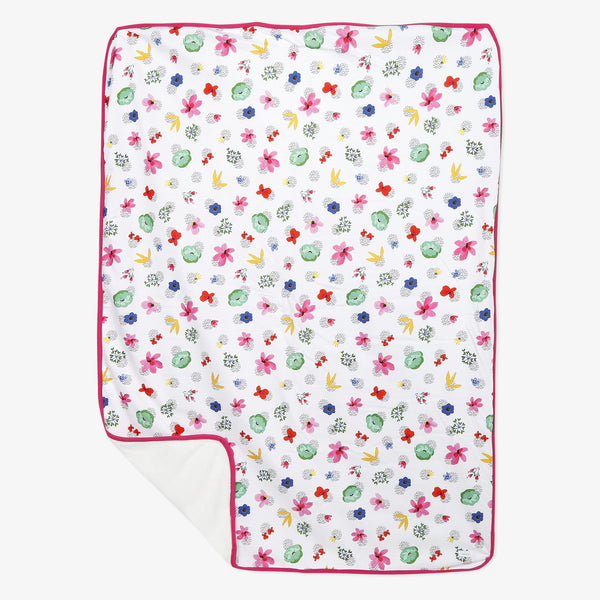 Flower print jersey and fleece blanket