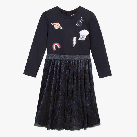 Navy dress with patches and tutu skirt