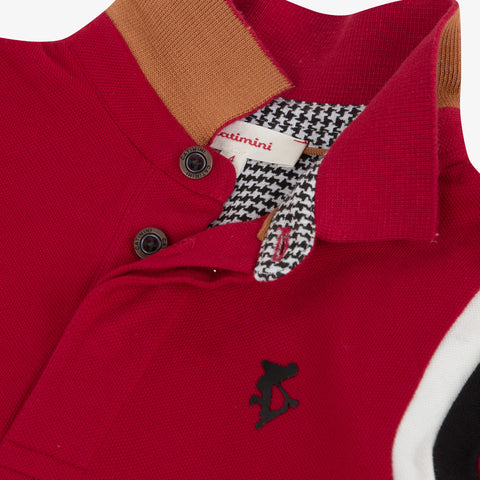 *NEW* Red knit polo shirt with embroidered back
