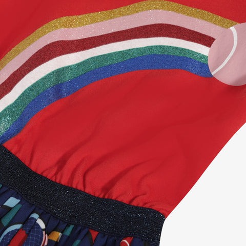 *NEW* Red T-shirt dress with rainbow pattern