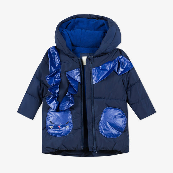 *NEW* Navy blue puffa jacket with ruffles