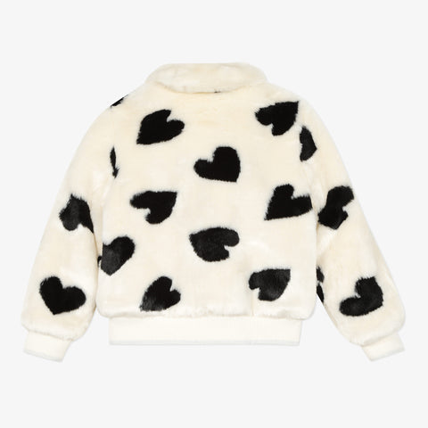 *NEW* Faux fur jacket with jacquard heart pattern