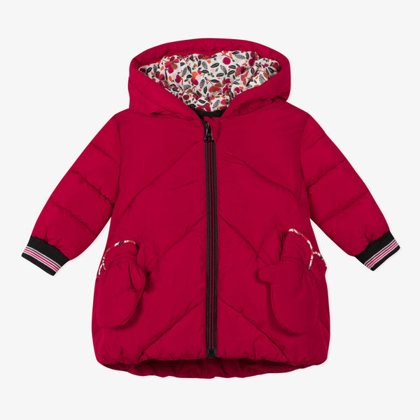 *NEW* Red coated puffa jacket and mittens