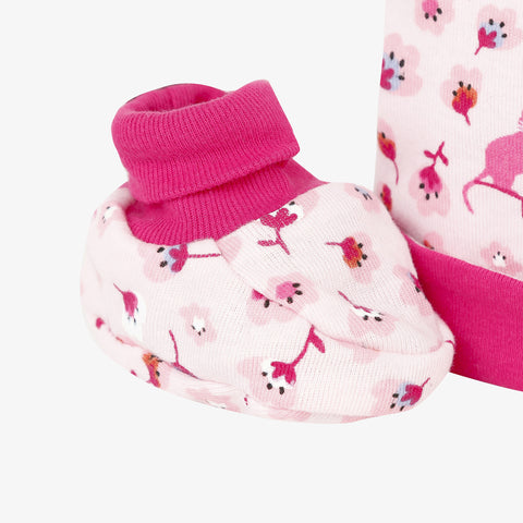 *NEW* Pink floral hat and booties