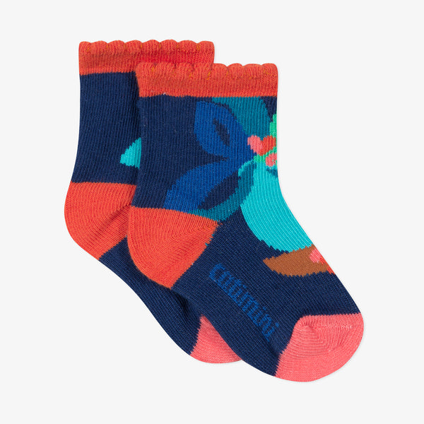 *NEW*  Blue socks with flowers