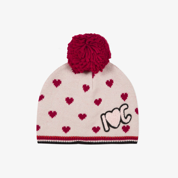 *NEW* White beanie with hearts and pompom