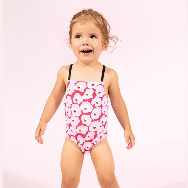 One piece swimsuit printed with cherry blossom
