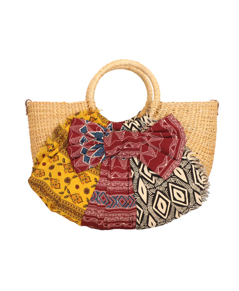 Mixed Media Straw Handbag