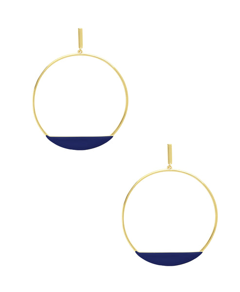 Zoom view for Circle Stud Hoop Earrings A