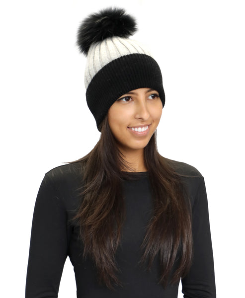 Zoom view for Cashmere Blend Knit Rib Hat w/ Fox Fur