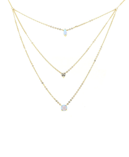 Zoom view for Layered Necklace w/ Opal & Cubic Zirconia