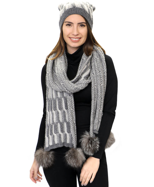 Zoom view for Cable Knit Hat & Scarf Set w/ Fox Fur Pom