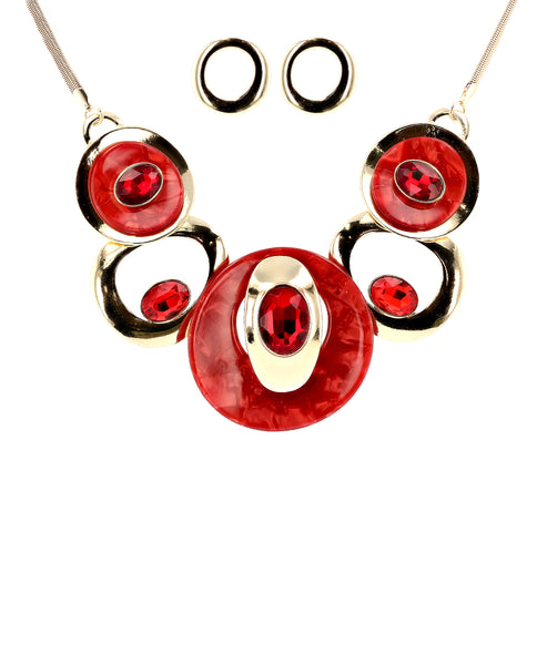Zoom view for Abstract Collar Necklace & Earrings Set A