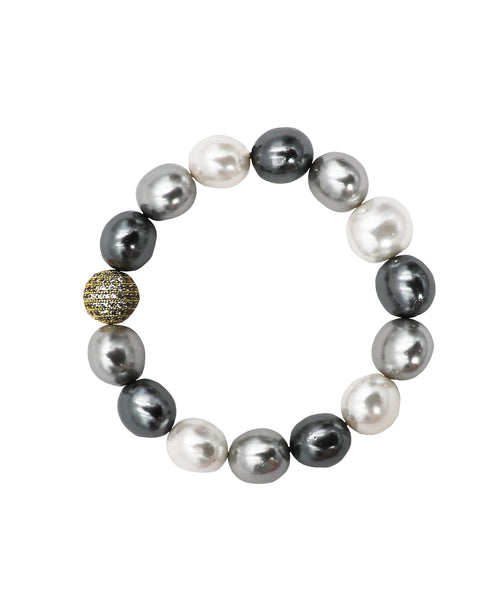 Faux Pearl Stretch Bracelet w/ CZ Accent ONLINE EXCLUSIVE - Fox's